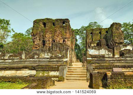Ancient Ruins Royal Palace In Polonnaruwa City Temple Unesco