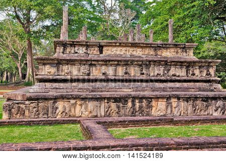 Ancient Council Chamber Ruins In Polonnaruwa City Temple Sri Lanka. World Heritage Convention, Unesc