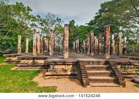 Ancient City Religion Ruins In Polonnaruwa City Temple Sri Lanka. World Heritage Convention, Unesco