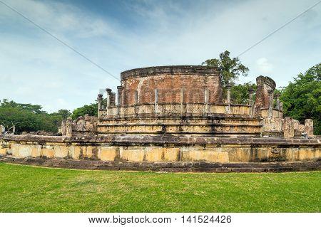 Polonnaruwa Vatadage Stone Ruins In Polonnaruwa City Temple Unesco