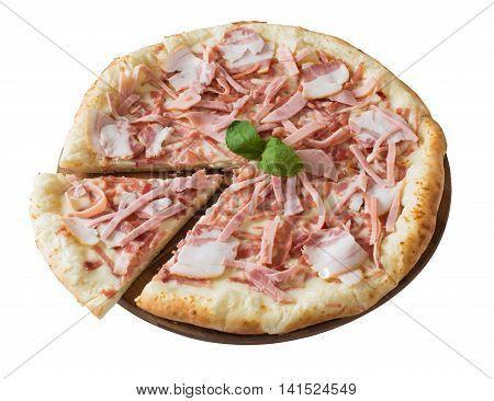 Tasty pizza withham and brisket isolated on white