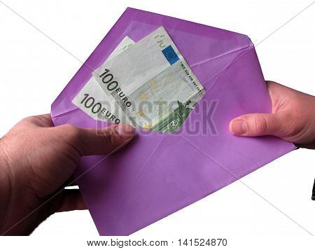 Hand with money in the pink envelope