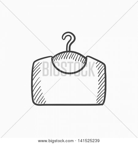 Sweater on hanger vector sketch icon isolated on background. Hand drawn Sweater on hanger icon. Sweater on hanger sketch icon for infographic, website or app.