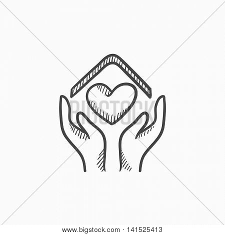 Hands holding house with heart vector sketch icon isolated on background. Hand drawn Hands holding house with heart icon. Hands holding house with heart sketch icon for infographic, website or app.
