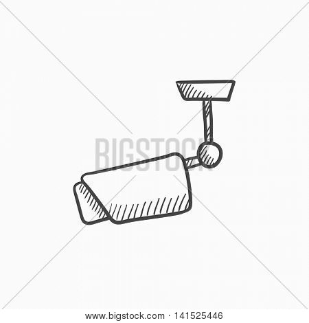 Outdoor surveillance camera vector sketch icon isolated on background. Hand drawn Outdoor surveillance camera icon. Outdoor surveillance camera sketch icon for infographic, website or app.