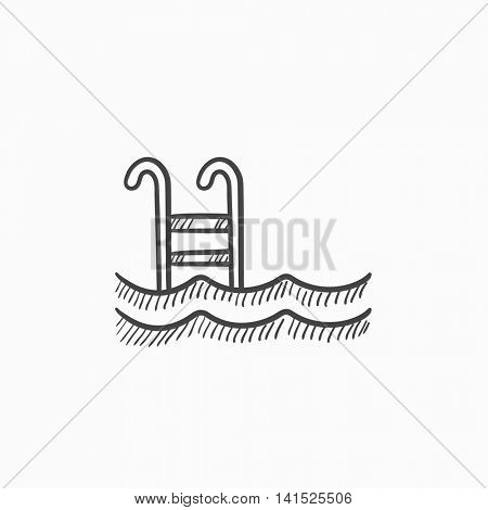 Swimming pool with ladder vector sketch icon isolated on background. Hand drawn Swimming pool with ladder icon. Swimming pool with ladder sketch icon for infographic, website or app.