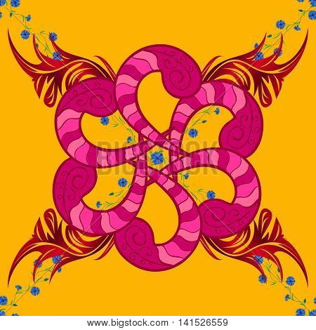 Floral mandala pattern in red stripe pink blue on pale yellow background.