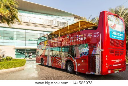 DUBAI UAE - JANUARY 26: Big Bus journey Dubai The Day Tour is a hop-on hop-off sightseeing tour of Dubai with a personal recorded commentary available in 12 languages. Dubai UAE circa January 2016
