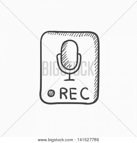 Record button vector sketch icon isolated on background. Hand drawn Record button icon. Record button sketch icon for infographic, website or app.