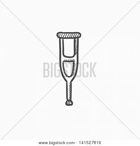 Crutch vector sketch icon isolated on background. Hand drawn Crutch icon. Crutch sketch icon for infographic, website or app.