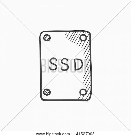 Solid state drive vector sketch icon isolated on background. Hand drawn Solid state drive icon. Solid state drive sketch icon for infographic, website or app.
