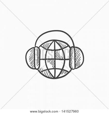 Globe in headphones vector sketch icon isolated on background. Hand drawn Globe in headphones icon. Globe in headphones sketch icon for infographic, website or app.