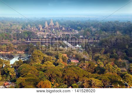 Aerial View Of Angkor Wat Khmer Temple Complex, Asia. Siem Reap, Cambodia.