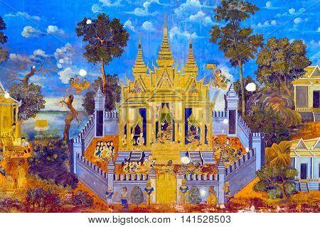 Painted Wall Royal Palace Pnom Penh, Cambodia