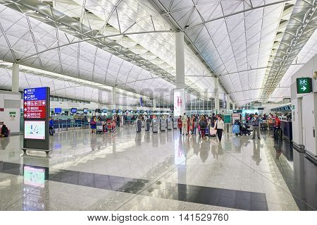 HONG KONG - CIRCA DECEMBER, 2014: inside of Hong Kong International Airport. Hong Kong International Airport is the main airport in Hong Kong.