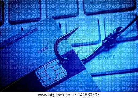Computer threat. Credit card phishing attack with blue digital background poster