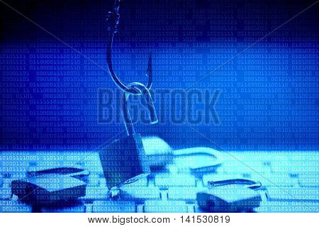 Phishing attack computer system with blue digital background