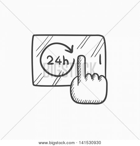 Available around the clock vector sketch icon isolated on background. Hand drawn Available around the clock icon. Available around the clock sketch icon for infographic, website or app.