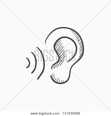 Ear and sound waves vector sketch icon isolated on background. Hand drawn Ear and sound waves icon. Ear and sound waves sketch icon for infographic, website or app.