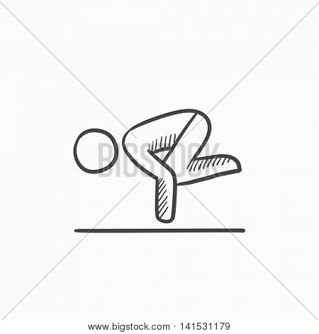 Man doing crane yoga pose vector sketch icon isolated on background. Hand drawn Man doing crane yoga pose icon. Man doing crane yoga pose sketch icon for infographic, website or app.