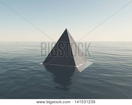 Pyramid UFO object in the deep sea water. 3D illustration