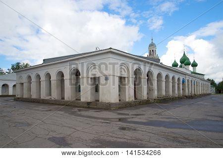 Ancient trading rows in a Market place, july morning. Poshekhon'ye, Yaroslavl region, Russia