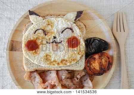 Gold coast, Australia, 7 August 2016, Editorial image, Pokemon inspired homemade breakfast for kids