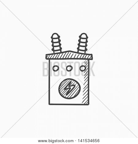 High voltage transformer vector sketch icon isolated on background. Hand drawn High voltage transformer icon. High voltage transformer sketch icon for infographic, website or app.