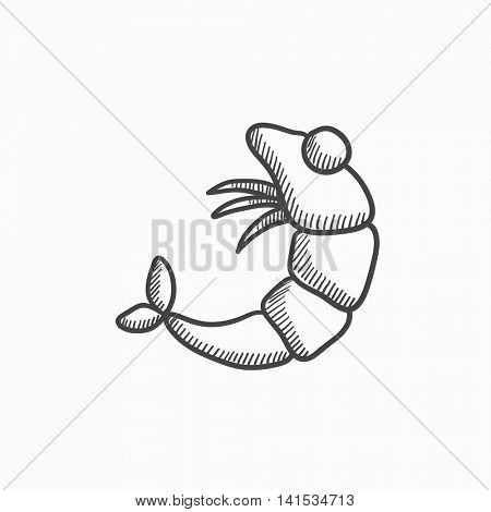 Shrimp vector sketch icon isolated on background. Hand drawn Shrimp icon. Shrimp sketch icon for infographic, website or app.