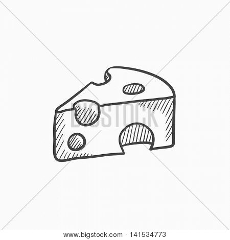 Piece of cheese vector sketch icon isolated on background. Hand drawn Piece of cheese icon. Piece of cheese sketch icon for infographic, website or app.