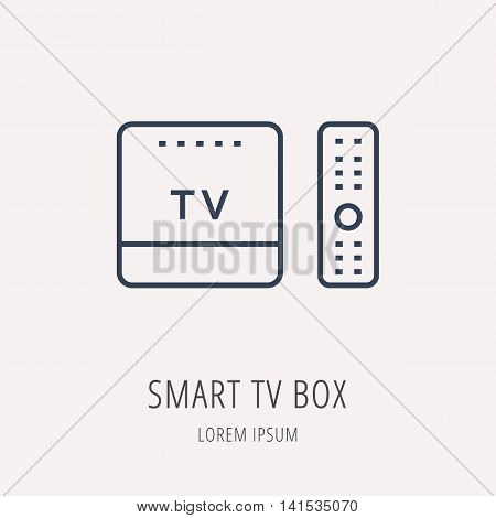 logo or label Smart TV Box. Line style logotype. Easy to use business template. Vector abstract sign or emblem.