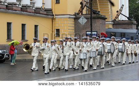St. Petersburg, Russia - 31 July, The parade of sailors, 31 July, 2016. Military sailors on parade in honor of the Navy.