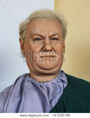 St. Petersburg, Russia - 9 April, The figure of Boris Yeltsin, 9 April, 2016. Wax Museum Gallery large Gostiny Dvor.