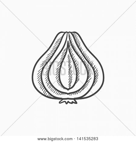 Garlic vector sketch icon isolated on background. Hand drawn Garlic icon. Garlic sketch icon for infographic, website or app.