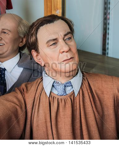 St. Petersburg, Russia - 9 April, Figure Chairman Leonid Brezhnev Politburo, 9 April, 2016. Wax Museum Gallery large Gostiny Dvor.