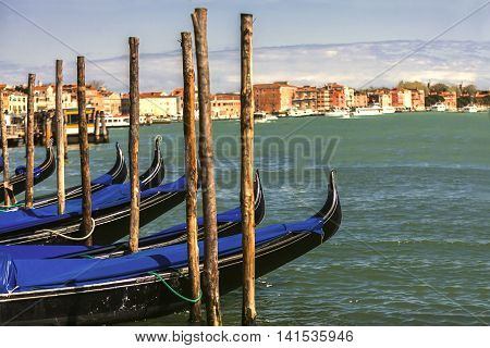 Landscape Of Venice With Group Of Gondolas
