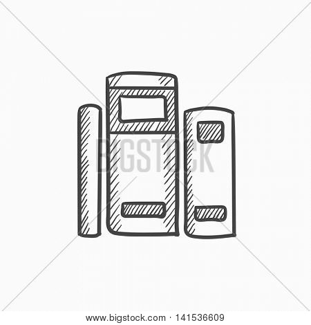 Books vector sketch icon isolated on background. Hand drawn Books icon. Books sketch icon for infographic, website or app.