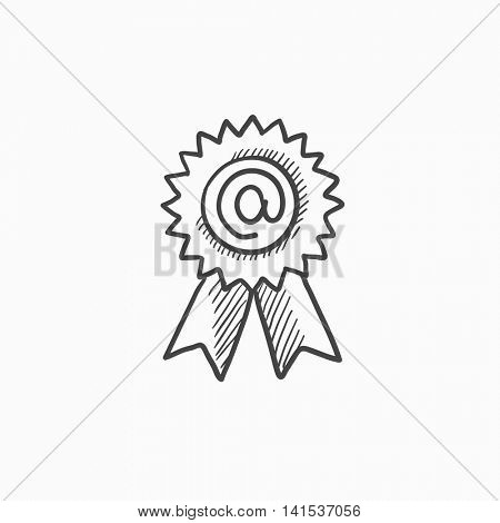 Award with at sign vector sketch icon isolated on background. Hand drawn Award with at sign icon. Award with at sign sketch icon for infographic, website or app.