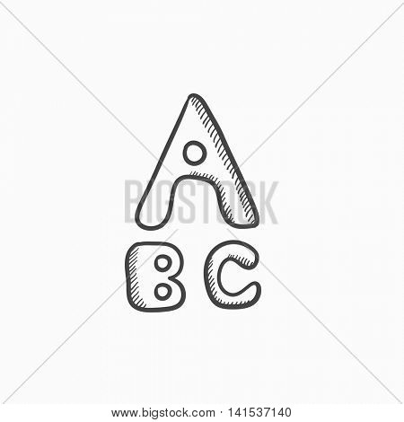 Letters painted in bold vector sketch icon isolated on background. Hand drawn Letters painted in bold icon. Letters painted in bold sketch icon for infographic, website or app.