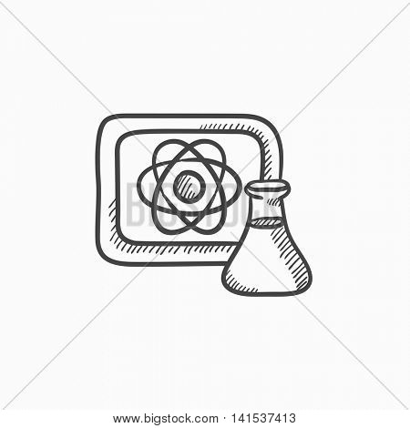 Atom sign drawn on board and flask vector sketch icon isolated on background. Hand drawn Atom sign on board and flask icon. Atom sign on board and flask sketch icon for infographic, website or app.