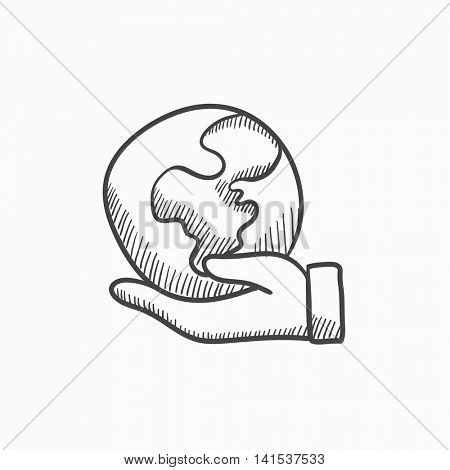 Hand holding the Earth vector sketch icon isolated on background. Hand drawn Hand holding the Earth icon. Hand holding the Earth sketch icon for infographic, website or app.