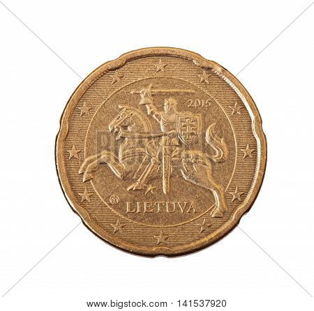 Euro cents isolated on a white background.