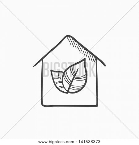 Eco-friendly house vector sketch icon isolated on background. Hand drawn Eco-friendly house icon. Eco-friendly house sketch icon for infographic, website or app.