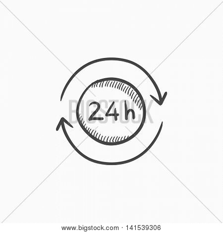 Service 24 hrs vector sketch icon isolated on background. Hand drawn Service 24 hrs icon. Service 24 hrs sketch icon for infographic, website or app.