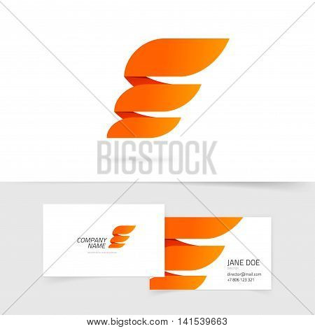 Abstract wing logo template vector design isolated on white background, orange flame logotype element with gradients, creative modern trendy wing emblem