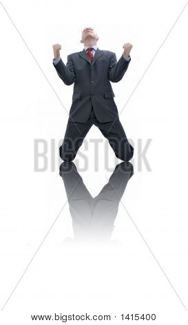 Happy businessman. Picture was made in a studio. poster