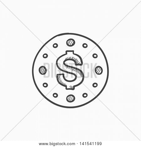 Wall clock with dollar symbol vector sketch icon isolated on background. Hand drawn Wall clock with dollar symbol icon. Wall clock with dollar symbol sketch icon for infographic, website or app.