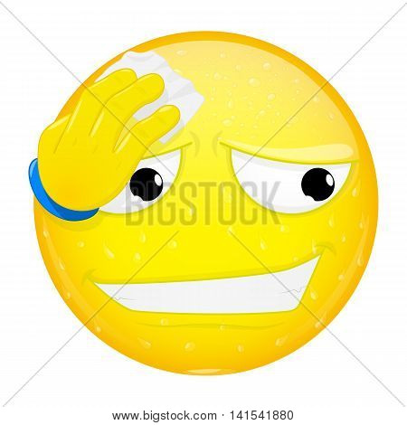 Emoji wipes the sweat with a handkerchief. Hard work heat phew emotion. Off the hook emoticon. Vector illustration smile icon.