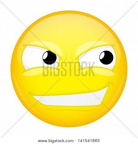 Smirk emoji. Sly emotion. Smiling emoticon. Vector illustration smile icon.