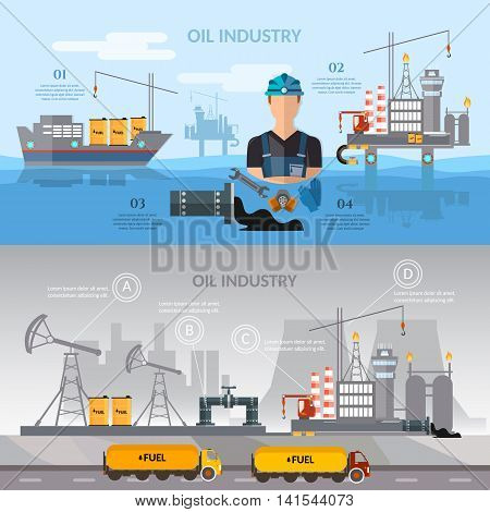 Oil industry infographics banner production process of drilling wells vector illustration